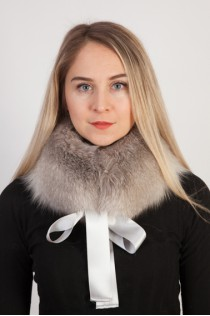 Grey fox fur collar - neck warmer